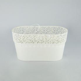 Кашпо пластикове біле NATURO DNAT275L 27,5*14,5*14,8см