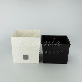Кашпо пластикове біле RATO LOW DRTS200L 20*20*20,2см
