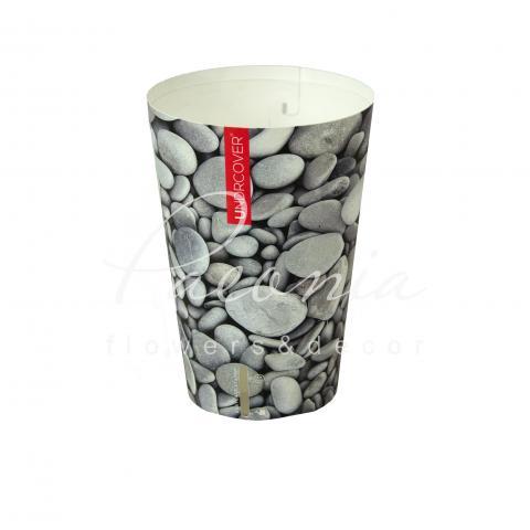 Кашпо пластиковое камни Ø11см h17см