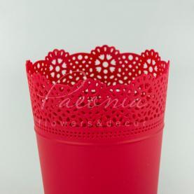 Кашпо пластиковое красное LACE DLAC180 L Ø18см h21см