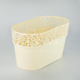 Кашпо пластикове кремове NATURO DNAT275L 27,5*14,5*14,8см