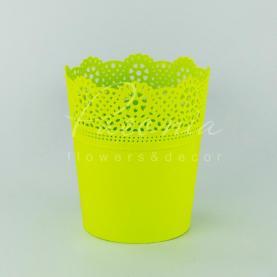 Кашпо пластиковое лимонное LACE DLAC180 L Ø18см h21см