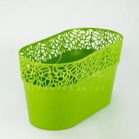 Кашпо пластикове оливкове NATURO DNAT275L 27,5*14,5*14,8см