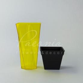 Кашпо пластиковое прозрачное желтое URBI TWIST P DURD140P 14*14*26,5см