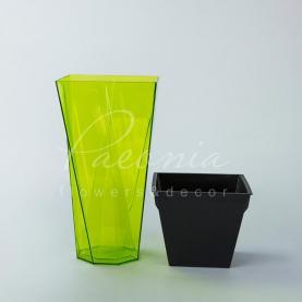 Кашпо пластиковое прозрачное зеленое URBI TWIST P DURD140P 14*14*26,5см