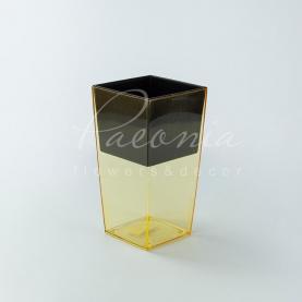Кашпо пластикове прозоре помаранчеве URBI SQUARE P DURS140P 14*14*26,5см