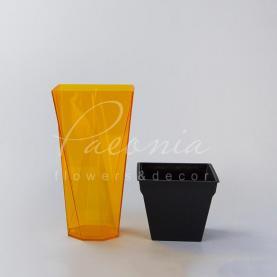 Кашпо пластикове прозоре помаранчеве URBI TWIST P DURD140P 14*14*26,5см