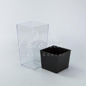 Кашпо пластикове прозоре прозоре URBI SQUARE P DURS140P 14*14*26,5см