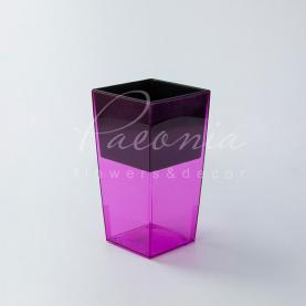 Кашпо пластикове прозоре рожеве URBI SQUARE P DURS140P 14*14*26,5см