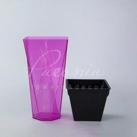 Кашпо пластиковое прозрачное розовое URBI TWIST P DURD140P 14*14*26,5см