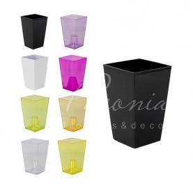 Кашпо пластиковое прозрачное фиолетовое URBI SQUARE P DURS125P 12,6*12,6*20см