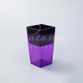 Кашпо пластикове прозоре фіолетове URBI SQUARE P DURS140P 14*14*26,5см