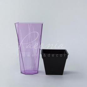 Кашпо пластикове прозоре фіолетове URBI TWIST P DURD140P 14*14*26,5см