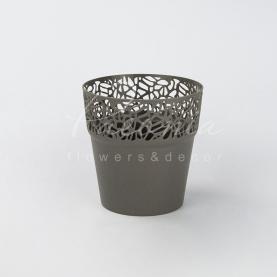 Кашпо пластикове сіре NATURO DNAT145L Ø14,5см h14,8см
