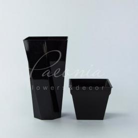 Кашпо пластикове чорне URBI TWIST P DURD140P 14*14*26,5см