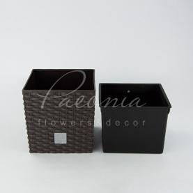 Кашпо пластикове шоколадне RATO LOW DRTS 170L 17*17*17см