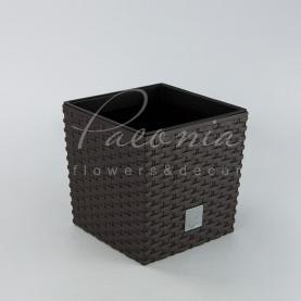 Кашпо пластиковое шоколадное RATO LOW DRTS 200L 20*20*20,2см
