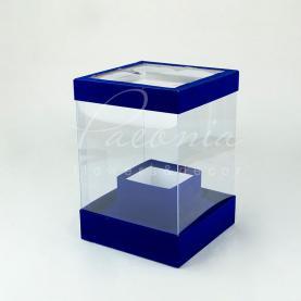 Коробка из картона и пластика квадратная бархат индиго 20см*28см