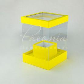 Коробка з картону и пластику квадратна жовта 20см*20см*28см