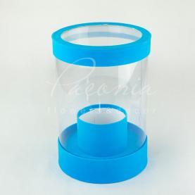 Коробка з картону и пластику кругла оксамит блакитна 20см*28см