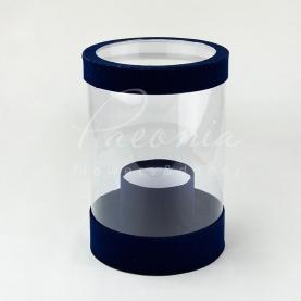 Коробка з картону и пластику кругла оксамит синя 20см*28см