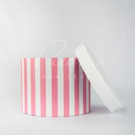 Коробка капелюшна для квітів Paeonia в рожеву смужку 15см*20см