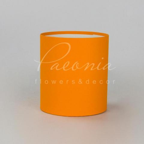 Коробка шляпная для цветов б/крышки оранжевая 15см*17см