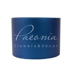 Коробка капелюшна для квітів б/кришки синя (20см*15см)