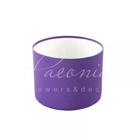 Коробка шляпная для цветов б/крышки фиолетовая 20см*15см