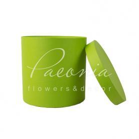 Коробка капелюшна для квітів з кришкою зелене Яблуко 20см*20см
