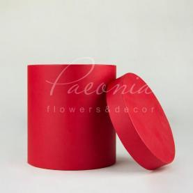 Коробка шляпная для цветов с крышкой красная 15см*17см
