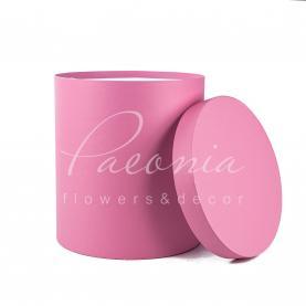 Коробка капелюшна для квітів з кришкою рожева 29,5см*33см