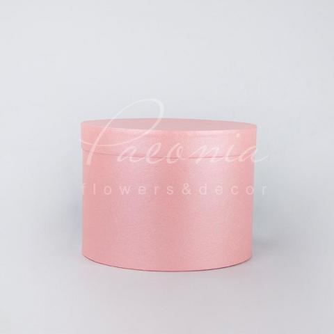 Коробка шляпная для цветов с крышкой розовая с блеском 20см*15см