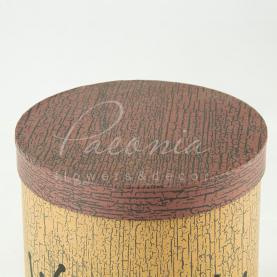Коробка шляпная для цветов с надписью коричневая 19см*17см