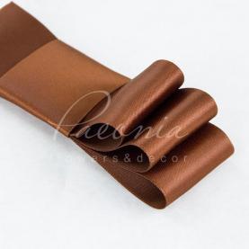 Стрічка атласна коричнева матова пастЯлина 4см*23м