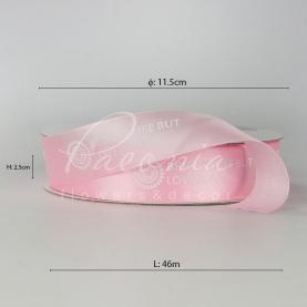 Стрічка атласна ніжно-рожева з написом и емблемою 2,5см*46м