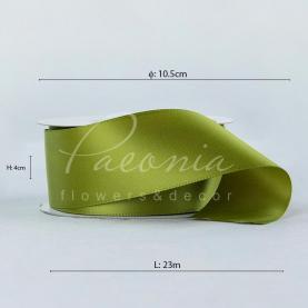 Стрічка атласна оливкова матова пастЯлина 4см*23м