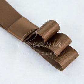 Стрічка атласна світло-коричнева матова пастЯлина 2см*23м
