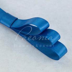Лента атласная синяя матовая 1см*23м