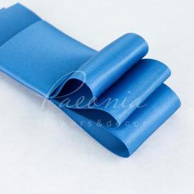 Лента атласная синяя матовая пастель 4см*23м