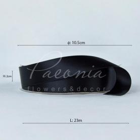 Стрічка атласна чорна матова пастель 2см*23м