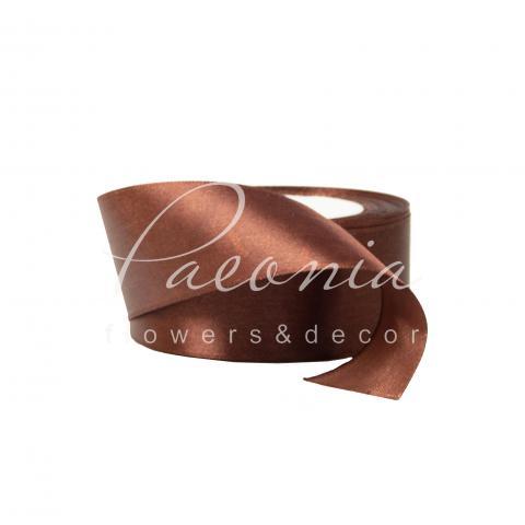 Лента атласная шоколадная матовая 4см*23м