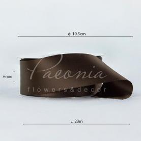 Стрічка атласна шоколадна матова пастЯлина 4см*23м