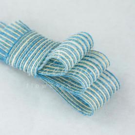 Лента из мешковины в тонкую полоску голубая 3см*14м