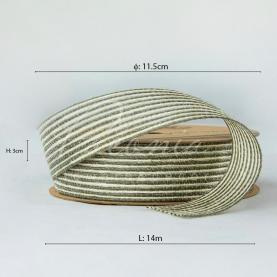 Стрічка з мішковини в тонкую смужку оливкова 3см*14м