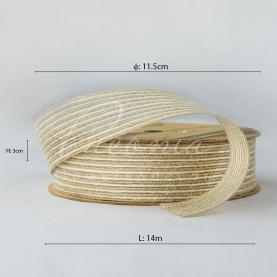 Стрічка з мішковини в тонкую смужку пісочна 3см*14м