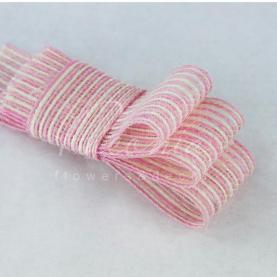 Стрічка з мішковини в тонкую смужку рожева 3см*14м