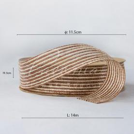 Стрічка з мішковини в тонкую смужку світло-коричнева 3см*14м