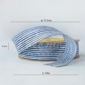 Стрічка з мішковини в тонкую смужку синя 3см*14м