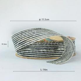 Стрічка з мішковини в тонкую смужку чорна 3см*14м